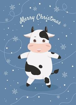 Carte postale avec une carte de noël de vache