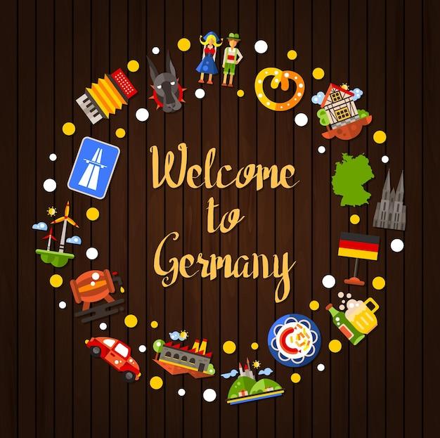 Carte postale de cercle de voyage allemagne avec de célèbres symboles allemands