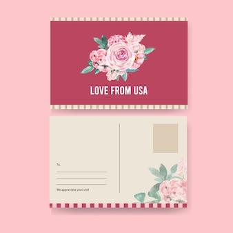 Carte postale de charme floral avec aquarelle de rose, célosie