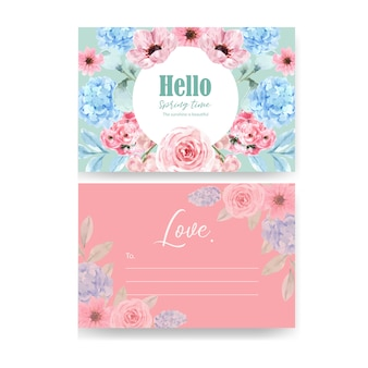 Carte postale de charme floral de style rétro avec illustration aquarelle florale vintage.