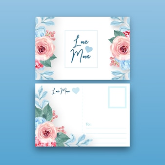 Carte postale de charme floral de style vintage avec illustration de couleur tonique chaude.