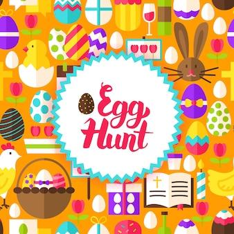Carte postale de chasse aux œufs plats. illustration vectorielle affiche de vacances de printemps. joyeuses pâques.