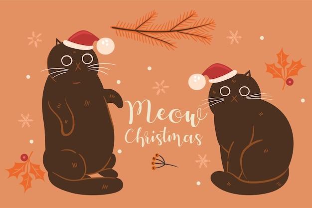 Carte postale avec des chats de noël inscription de noël meow.