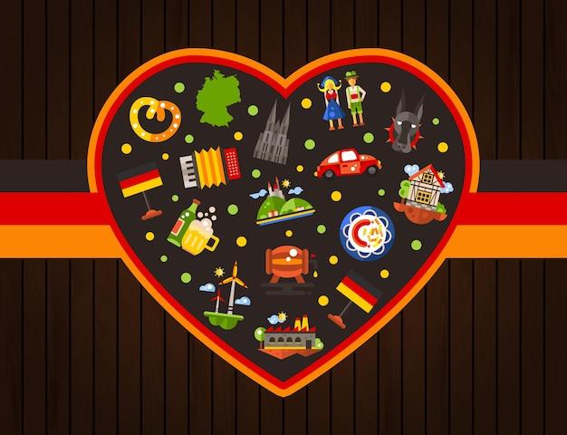 Carte postale de coeur de voyage d'allemagne avec des symboles allemands célèbres