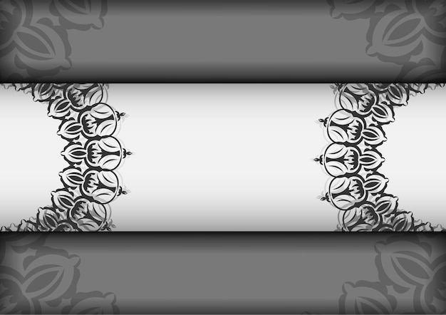 Carte postale de conception de vecteur couleurs blanches avec des mandalas. conception de cartes d'invitation avec un espace pour votre texte et vos ornements vintage.