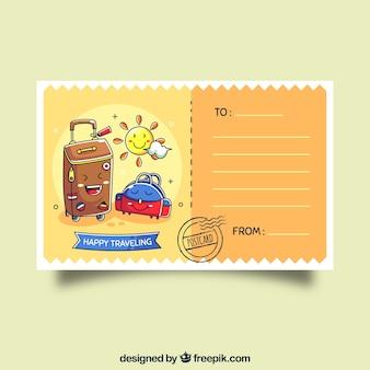 Carte postale de voyage avec des bagages