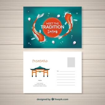 Carte postale de voyage avec des poissons