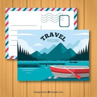 Carte postale de voyage avec destination