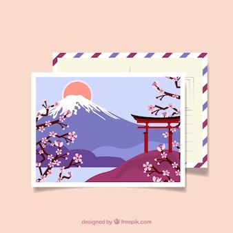 Carte postale de voyage avec paysage japonais