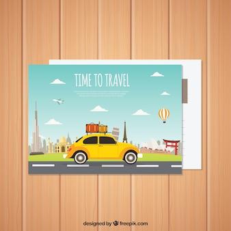 Carte postale de voyage avec voyage en voiture