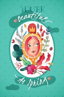 Carte postale décorative verticale dédiée au printemps et à la beauté féminine.