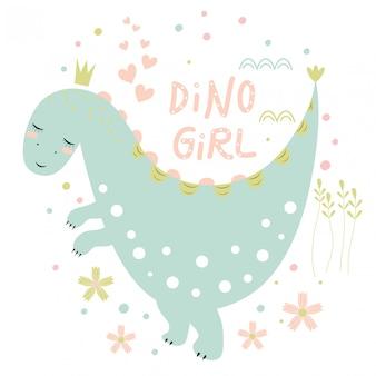 Carte postale avec dinosaure mignon, inscription et coeurs