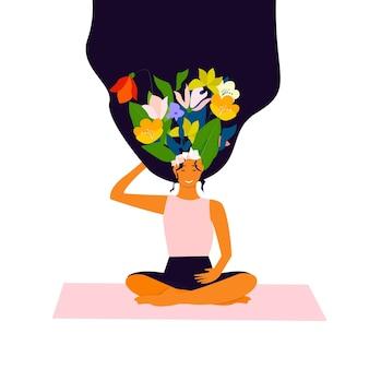 Carte postale du 8 mars à l'occasion de la journée internationale de la femme. bouquet de fleurs de printemps lumineuses pensées girl.happy girl.vector illustration