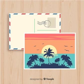 Carte postale du coucher du soleil de l'été dessiné à la main
