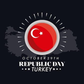 Carte postale du jour de la république de turquie