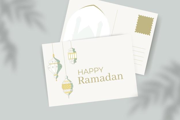Carte postale élégante de voeux de ramadan minimaliste