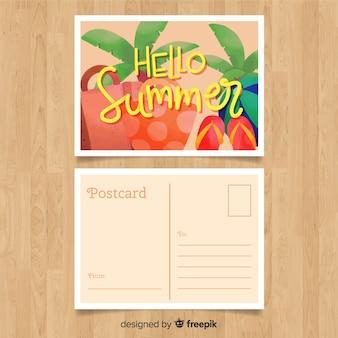 Carte postale d'éléments d'été dessinés à la main