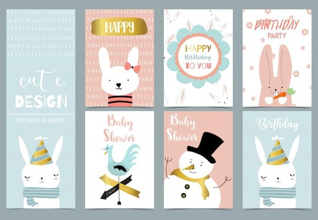 Carte postale enfant mignon avec bonhomme de neige