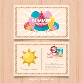 Carte postale d'été mignon avec des glaces au design plat