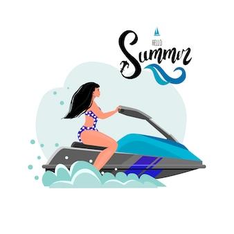 Carte postale d'été avec une photo d'une fille. bonjour lettrage d'été