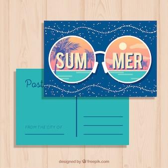Carte postale d'été avec plage