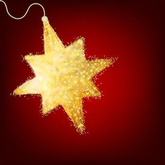 Carte postale avec une étoile d'or scintillante.