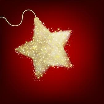 Carte postale avec une étoile rouge scintillante.