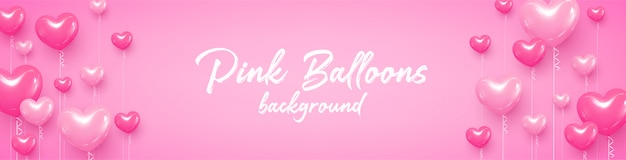 Carte postale félicitations ballons coeurs rose