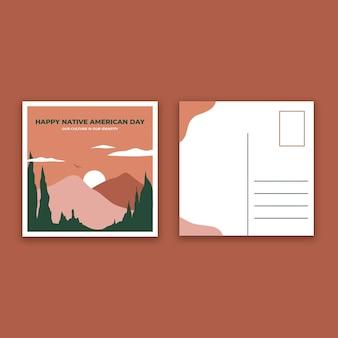 Carte postale de la fête des amérindiens bicolore moderne