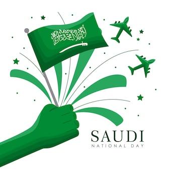 Carte postale de la fête nationale saoudienne avec drapeau ondulant à la main