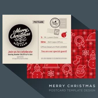 Carte postale de fête de noël invitent