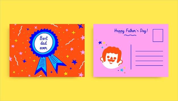 Carte postale fête des pères doodle coloré