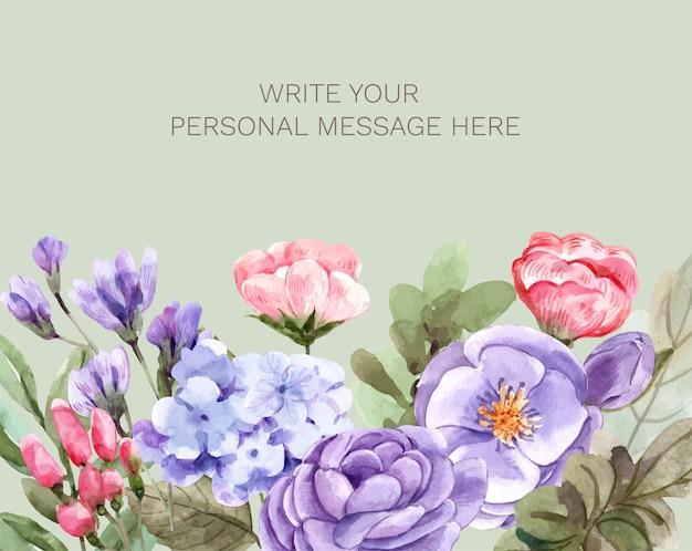 Carte postale avec des fleurs.