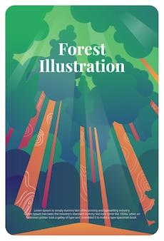 Carte postale de forêt illustration carte de voeux