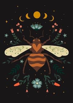 Carte postale avec guêpe, phases de lune et éléments de la flore. graphiques vectoriels.