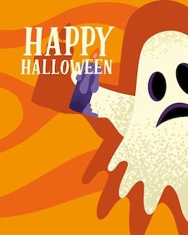 Carte postale halloween heureux