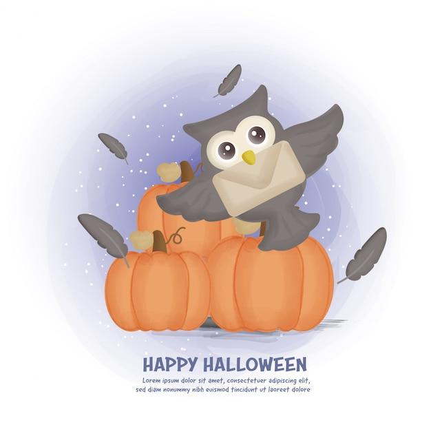 Carte postale halloween avec hibou mignon et citrouilles.