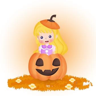 Carte postale halloween avec sorcière mignonne et citrouille dans le style de couleur de l'eau.