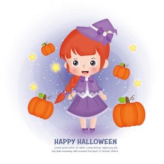 Carte postale halloween avec sorcière mignonne et citrouilles.