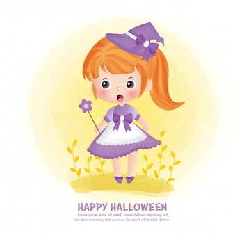 Carte postale halloween avec sorcière mignonne.