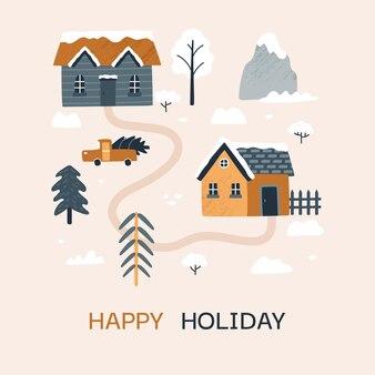 Carte postale d'hiver vector illustration avec des maisons confortables épicéas arbres arbustes de montagne voiture