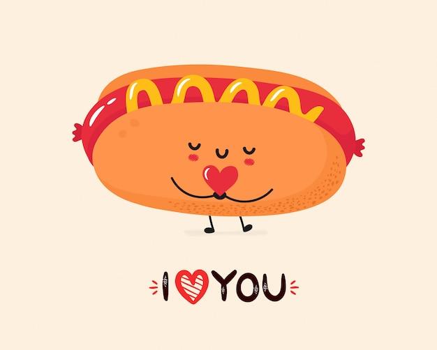 Carte postale de hot-dog mignon