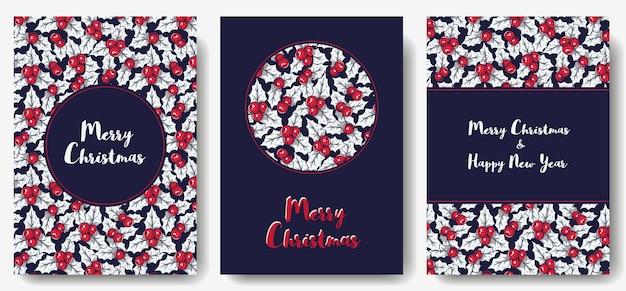 Carte postale de houx de noël pour les vacances du nouvel an