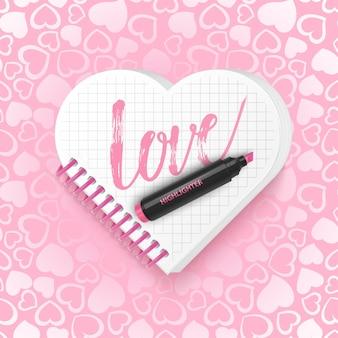 Carte Postale Avec L'inscription Love. Vecteur Premium