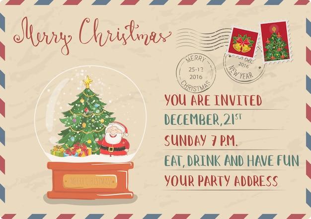 Carte postale d'invitation de noël vintage avec timbre et cachet de la poste