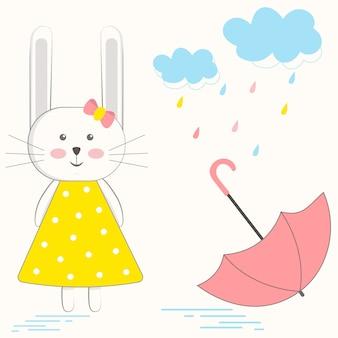 Carte postale avec un joli lapin et un parapluie aux couleurs pastel