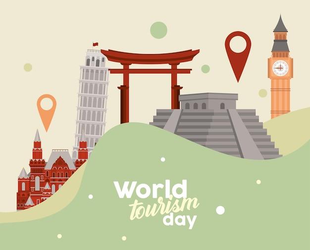 Carte postale de la journée mondiale du tourisme