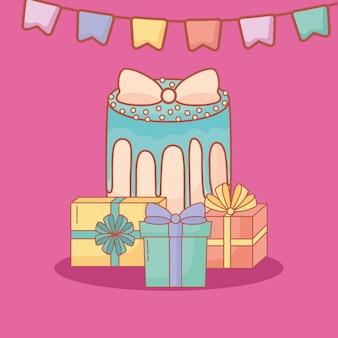 Carte postale joyeux anniversaire avec gâteau et cadeaux