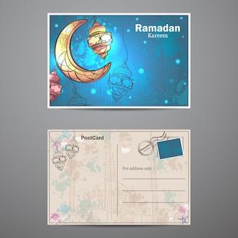 Carte postale avec lampes et croissant de lune