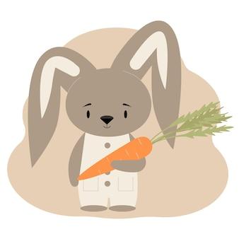 Carte postale avec un lapin mignon tenant une carotte